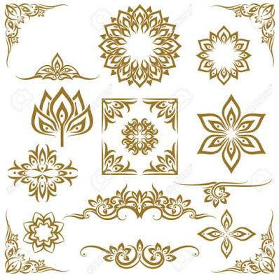 Gambar Dekoratif Pola Elemen Floral Gold
