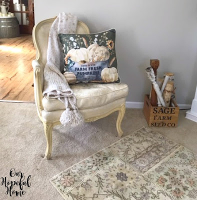 bergere chair knit throw tassels velvet pumpkin pillow stenciled box spindles white birch logs