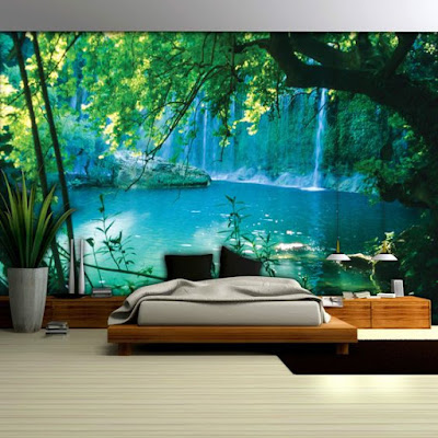 bedroom wall with landscape 3D wallpaper mural