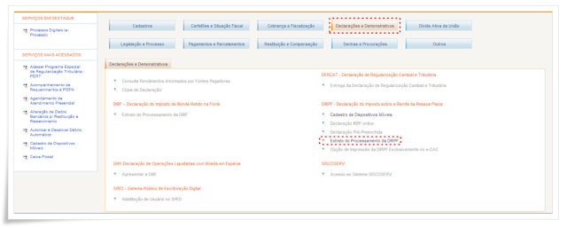 portal e-cac no site da Receita Federal