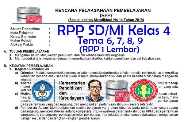 RPP 1 Lembar Tematik SD/MI Kelas 4 Tema 6 Subtema 1 2 3 4 Semester 2, Download RPP 1 Halaman Kelas 4 Tema 6 Subtema 1 2 3 4 Kurikulum 2013 SD/MI Revisi Terbaru, RPP Silabus 1 Halaman Tematik Kelas 4