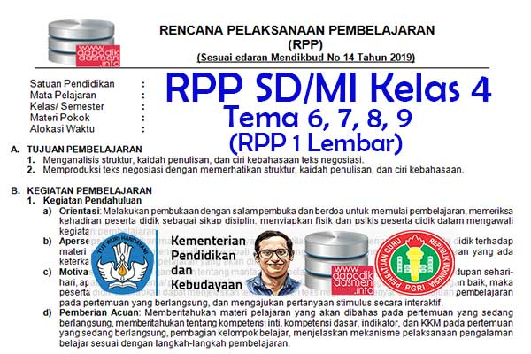 RPP 1 Lembar Tematik SD/MI Kelas 4 Tema 9 Subtema 1 2 3 4 Semester 2, Download RPP 1 Halaman Kelas 4 Tema 9 Subtema 1 2 3 4 Kurikulum 2013 SD/MI Revisi Terbaru, RPP Silabus 1 Halaman Tematik Kelas 4