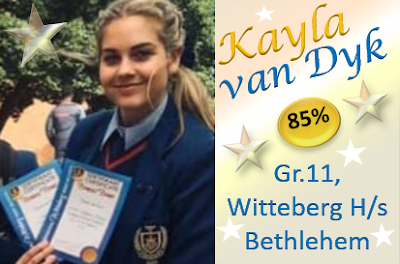 Kayla van Dyk, Gr.11, Witteberg H/s Bethlehem kry 85% vir redenaars met die briljante aanbieding van haar toespraak. Op die beoordeelstaat kry sy die hoogste prestasie (Puik) vir ELKE item van beoordeling!! Dit wil gedoen wees, Kayla! Baie geluk met jou uitsonderlike prestasie!