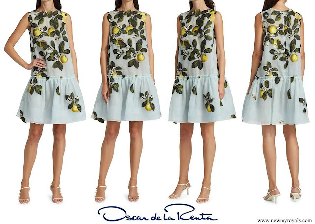 The Duchess wore a new peplum hem dress from Oscar de la Renta