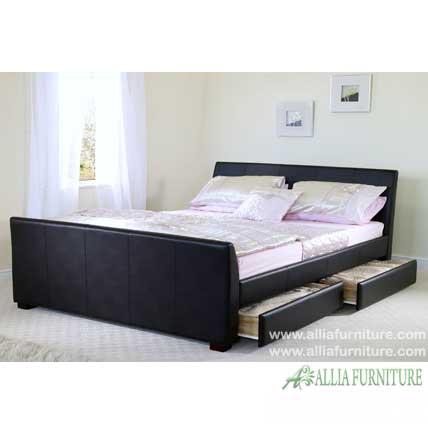 Tempat tidur laci lapis kulit valencia