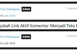 Mengubah Link Aktif Komentar Menjadi Teks Biasa