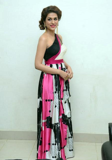 Shraddha Das in Miguelizer Miguel Half Shoulder Dress