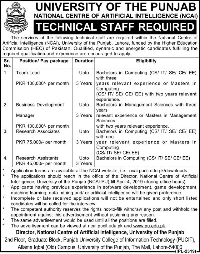 Advertisement for University of the Punjab Jobs