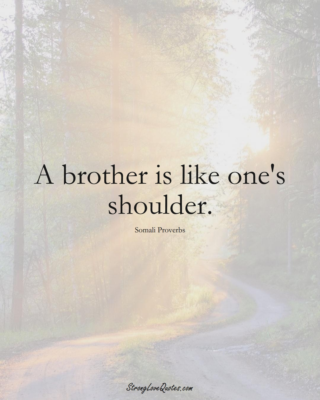 A brother is like one's shoulder. (Somali Sayings);  #AfricanSayings