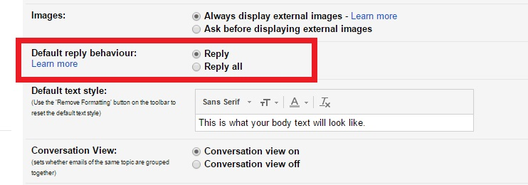 default reply
