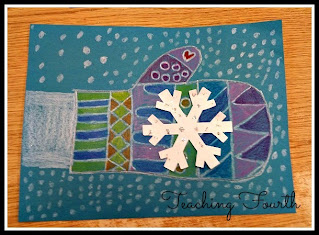 Fourth grade student crayon drawing of a mitten with pattern