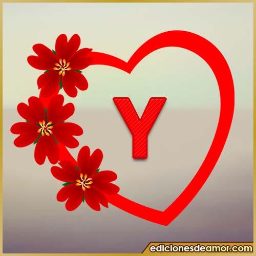 corazón de flores con letra Y