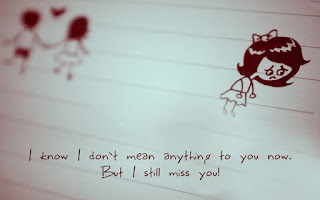 sad girls cartoon with quote of miss you