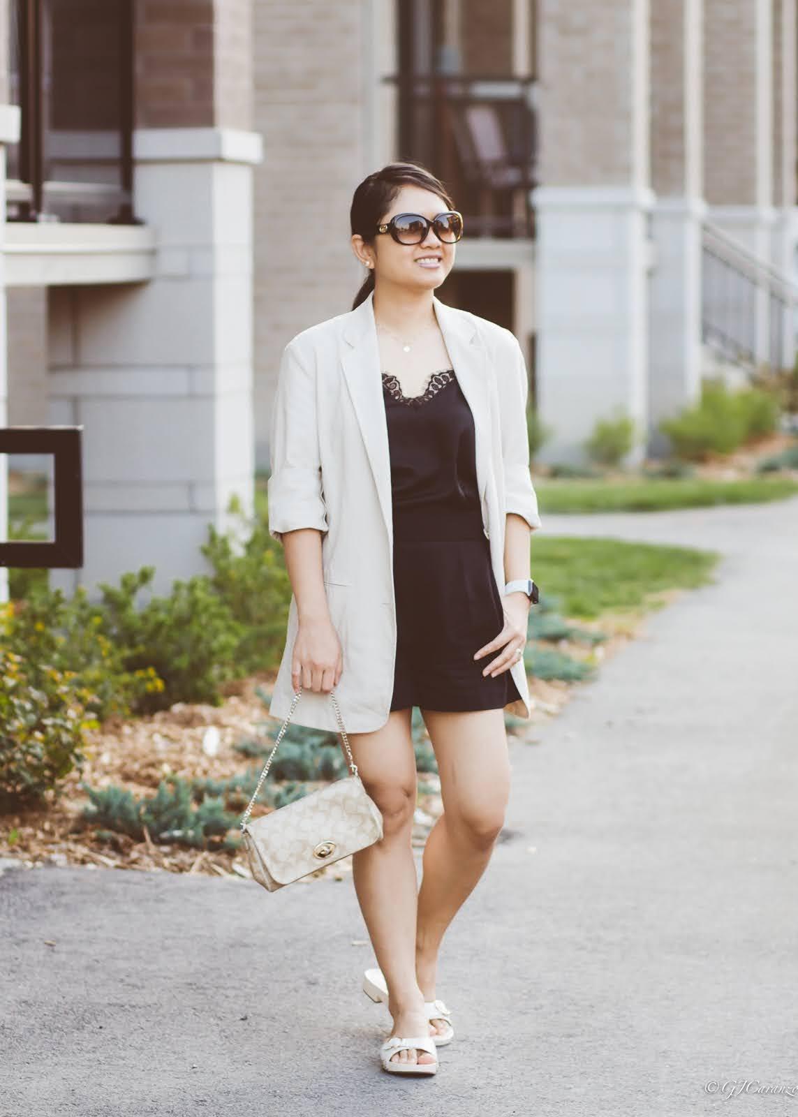 Uniqlo Linen blend Blazer | H&M Satin Camisole Top | Zara High Waisted Shorts | Coach Bleeker Sandals | Gucci Sunglasses | Coach Bag | Petite Fashion