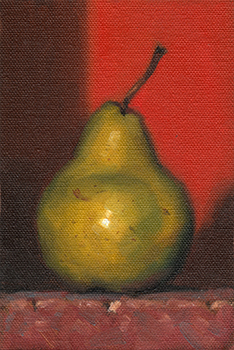 Still life oil painting of a pear.