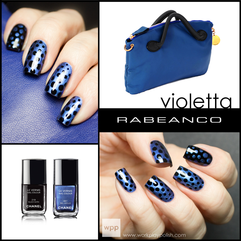 RABEANCO Violetta-inspired mani using Chanel Bel-Argus and Chanel Black Satin