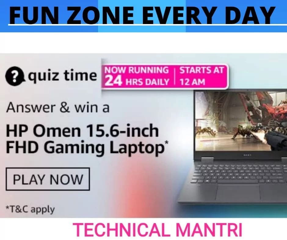 Amazon quiz answers today for 28th March 2021: Win OMEN by HP Gaming Laptop