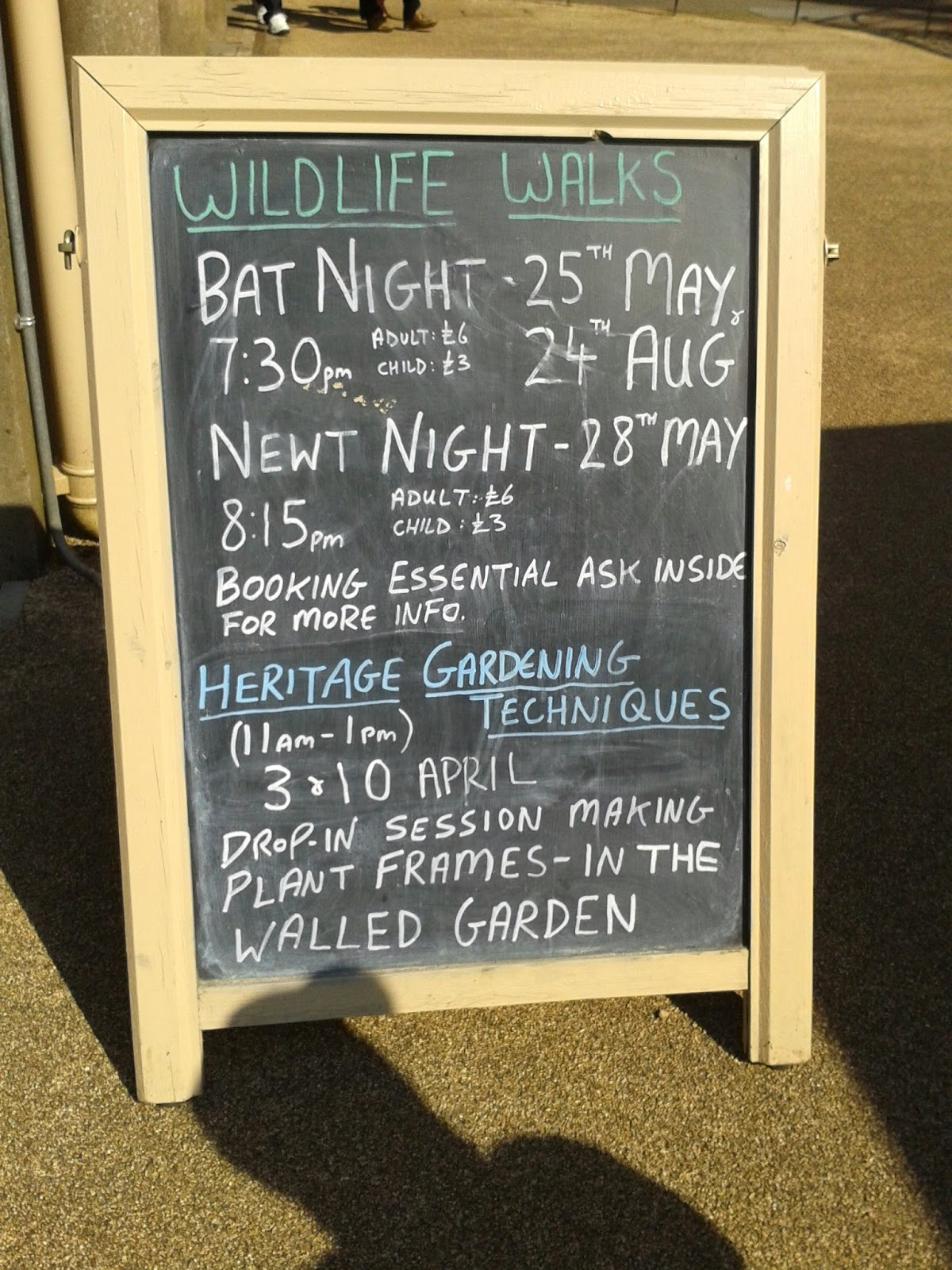 Forthcoming events board, Dyffryn Gardens
