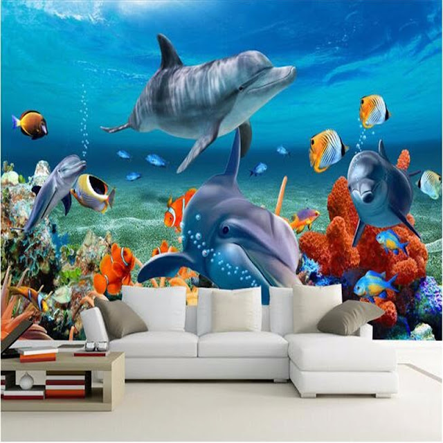 Dolphin wall Undersea mural photo wallpaper 3d underwater world large wall aquarium animal fish corall