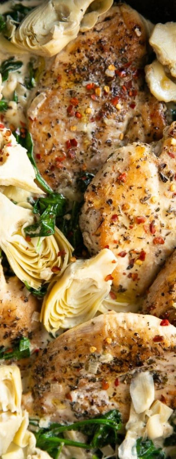 One Pan Creamy Spinach Artichoke Chicken Recipe #ChickenRecipe