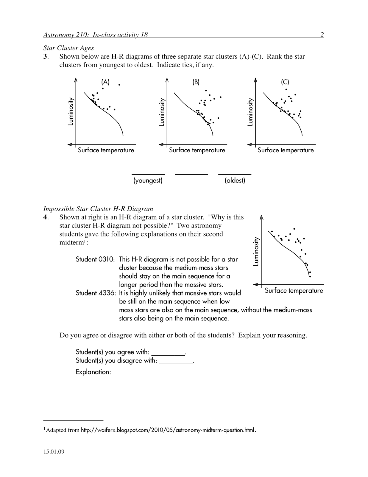 on an in class activity worksheet on comparing evolution rates of different mass stars and ranking relative star cluster ages given their h r diagrams  [ 1236 x 1600 Pixel ]