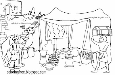 Busy city goods trade in Egypt old bazaar ancient Egyptian drawing Cairo market place coloring pages