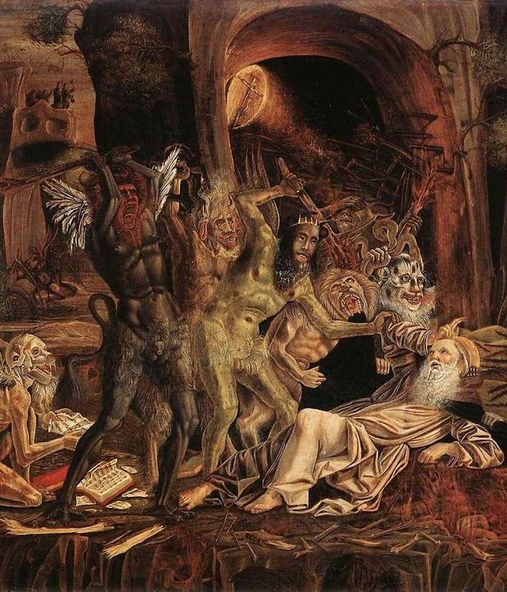 Satanás sabe que sua hora está chegando e que restam poucos dias ao seu império na terra. Santo Antonio do Deserto, Bernardo Parenzano (1450 – 1500), Galeria Doria Pamphilij, Roma