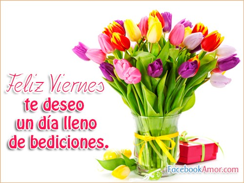 feliz día viernes flores