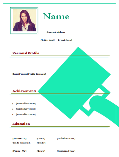 Example Cv Model To Download In Format Word Free Green