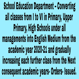 School Education Department – Converting all classes from I to VI in Primary, Upper