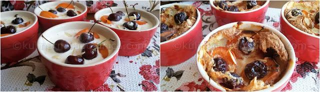 Клафути с кайсии и череши - рецепта