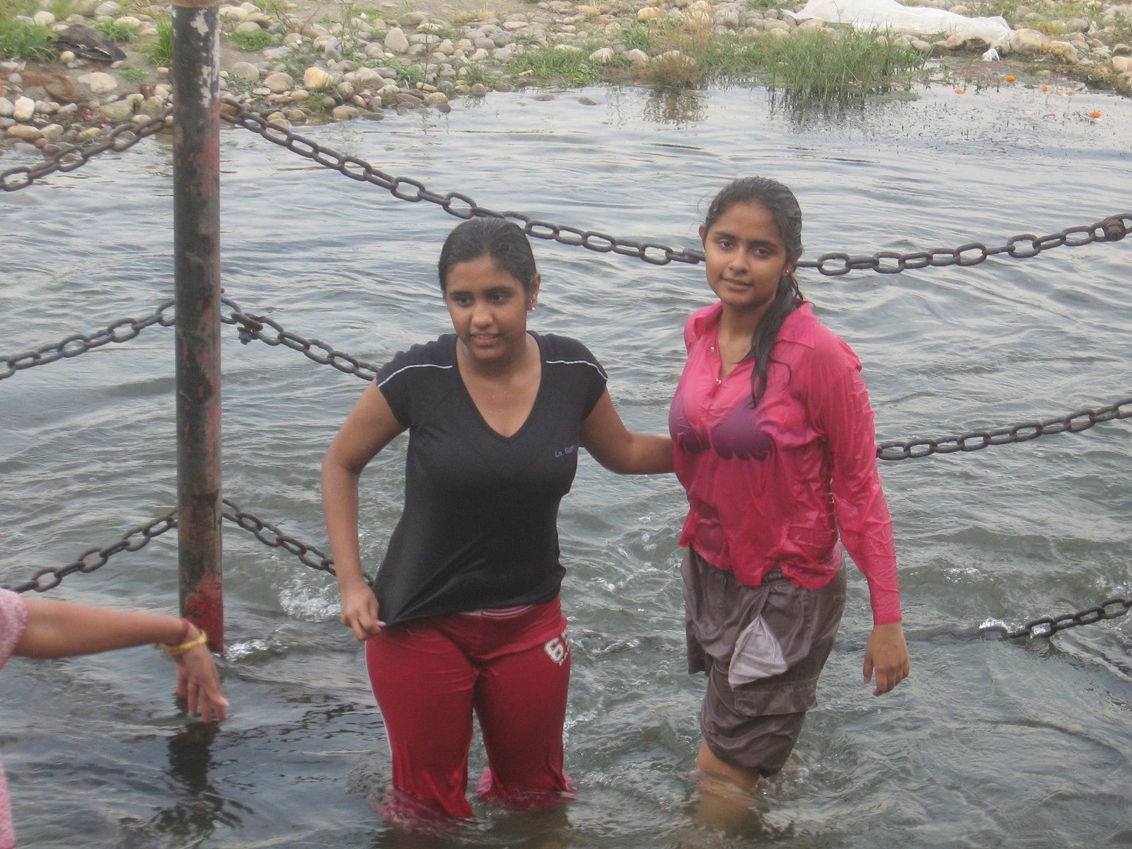 Image Indian Women Girls Bathing In River Real Life Image