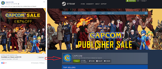 CAPCOM Publisher Sale Facebook Ad February 2020 Miles Edgeworth Phoenix Wright removed Steam discounts