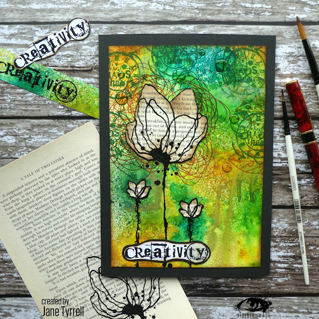 inky flower | stamp | canvas | ink sprays