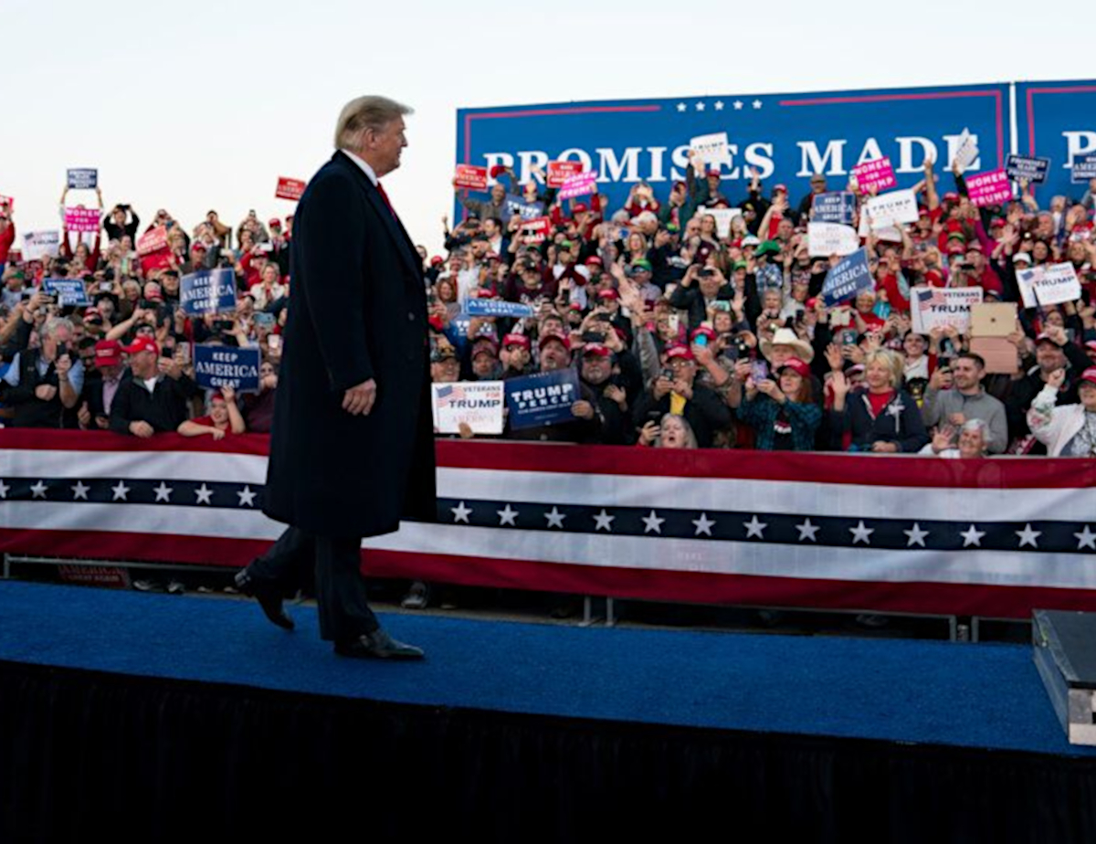 President Donald Trump speaking at Trump campaign rally to endorse midterm election candidates