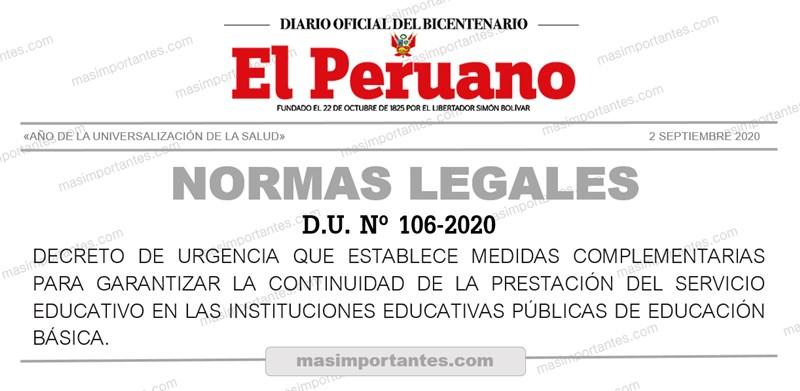 DU Nº 106-2020 medidas complementarias para garantizar la continuidad del servicio educativo