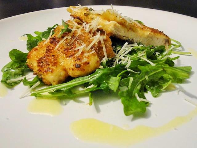 Crispy Sage Chicken with Rocket & Lemon Butter Dressing