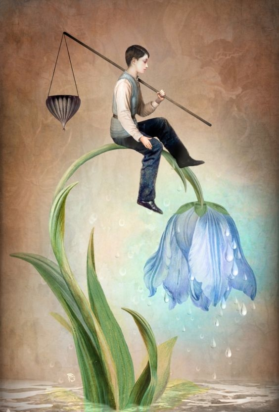 01-The-Gift-of-Rain-Christian-Schloe-Digital-Art-combining-Dreams-with-Surreal-Paintings-www-designstack-co
