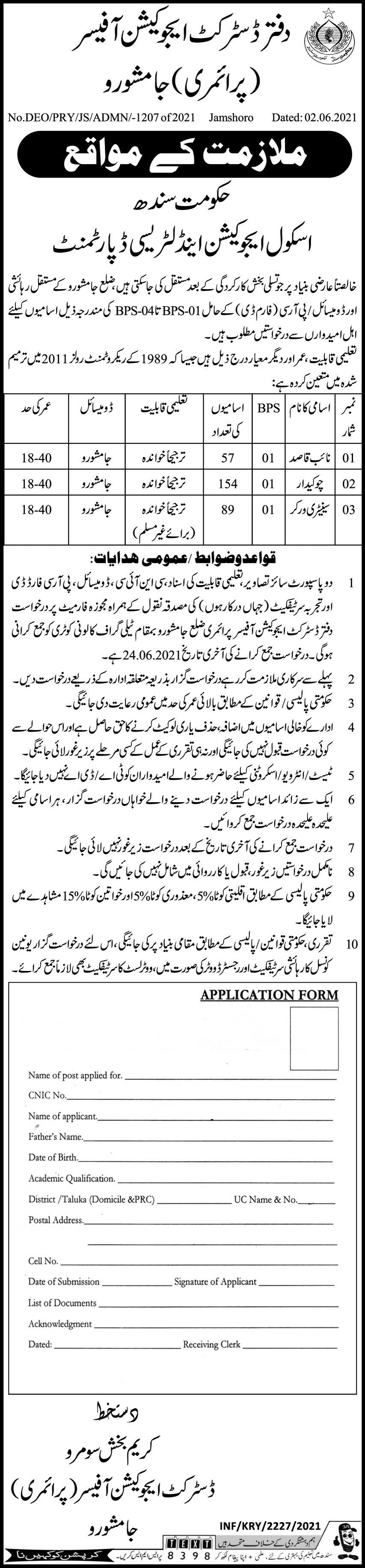 Office Of The District Education Officer Primary Jamshoro Sindh Jobs 2021