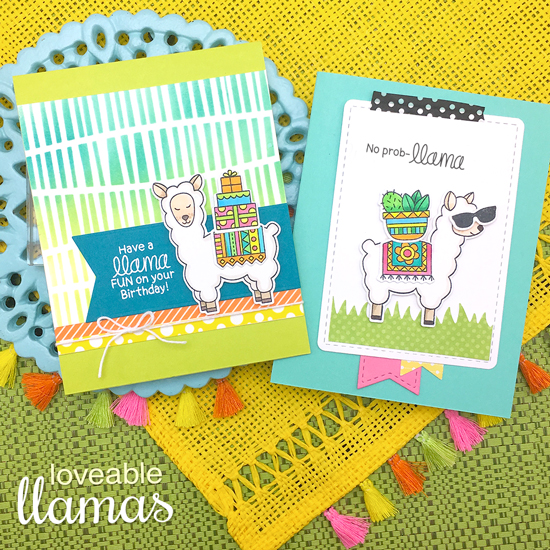Llama Cards by Jennifer Jackson |  Loveable Llamas Stamp Set and Serene Stripes Stencil by Newton's Nook Designs #newtonsnook #handmade #llama