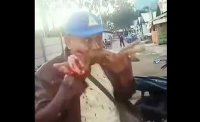 seorang laki-laki memakan kucing