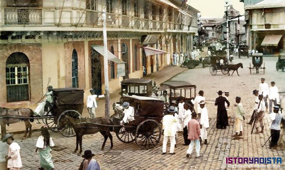 Busy Rosario Street in Binondo, Manila (c1900s)