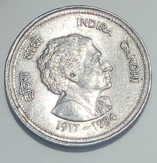 5-Rupees Coin indra Gandhi{1907-1984} YEAR -1985