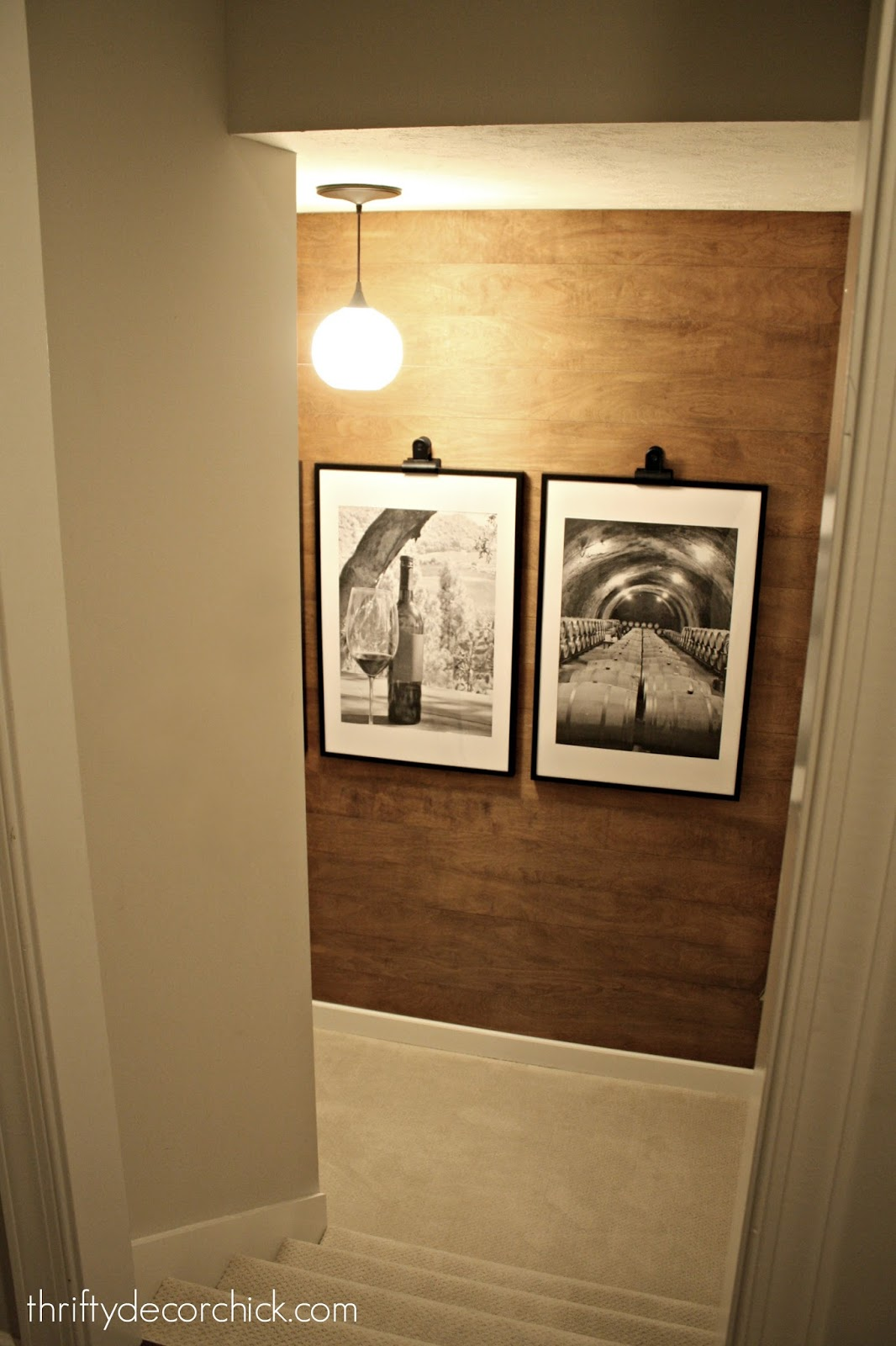 wood wall on stairs