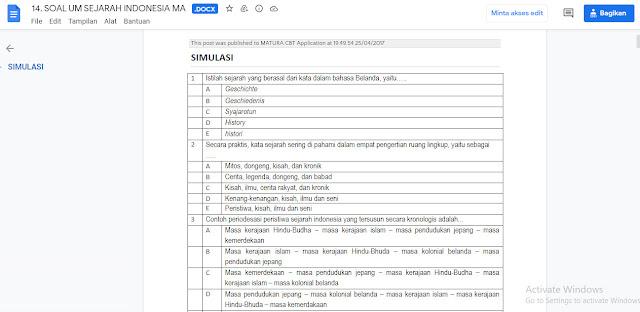 Contoh Latihan Soal Ujian Madrasah (UM) Sejarah Indonesia MA Tahun 2021