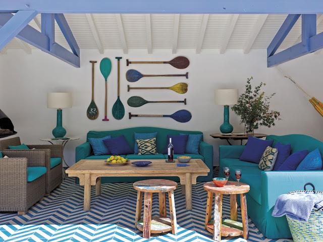 Casa de Praia Cores Azul, Verde e Violeta com tons naturais. Achados de Decoração