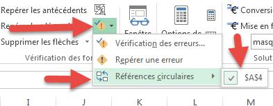 Menu Références circulaires - Excel