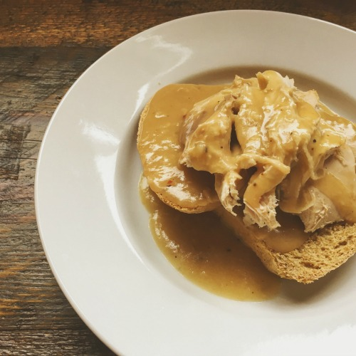 Open-faced Turkey Sandwich on Sweet Brown Bread-the perfect way to use up holiday leftovers