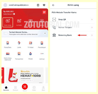 Cara Transfer Saldo LinkAja ke BRI, BNI, Mandiri, BTN by zotutorial.com