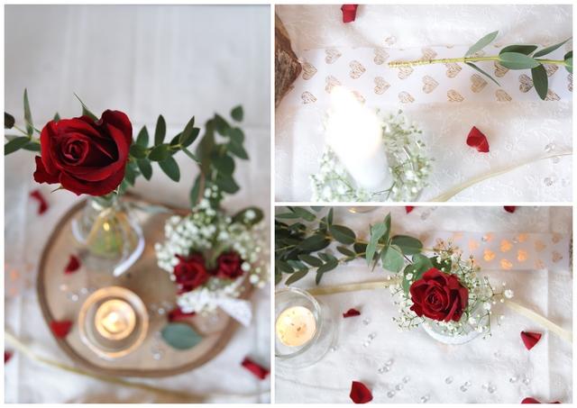 Tischdeko zur Hochzeit mit vielen kleinen Vasen